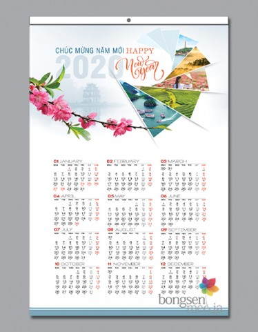 Lịch ghim giữa 13 tờ - BS02 - Việt Nam phồn vinh